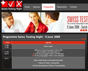 Screenshot Swiss Testing Night Website